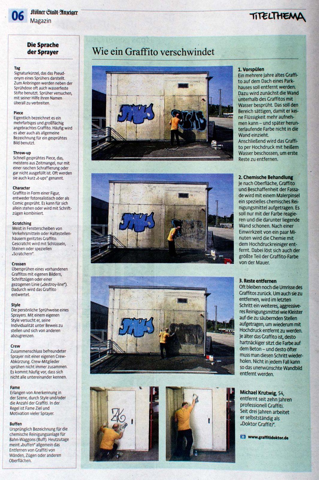Graffitientfernung | Köln | Bonn | Siegburg | Bergisches Land | Graffitidoktor | Beraten | Entferne | Schützen | Farbschmierereien | Fassadenschutz | Bautenschutz | Fassadenreinigung |
